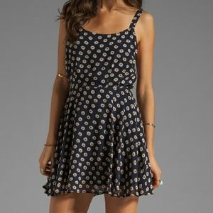 Lucca Couture navy blue floral swing dress
